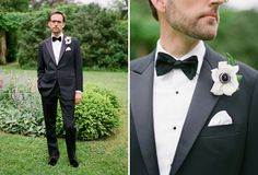 love a groom in a bow tie!