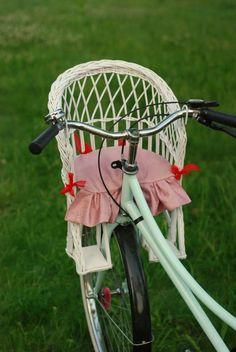 Wiklinowy fotelik na rower dla dziecka+PODUSZKA