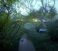 "Bridge house, Architect Max Pritchard, ""Touch the Earth Lightly"""