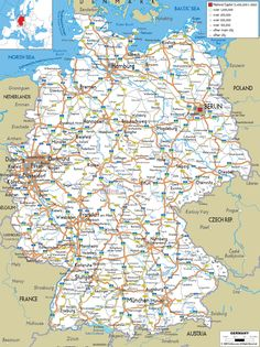 Road Map of Germany - Ezilon Maps