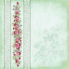 Papier - Niewinność 008 - Magiczna Kartka Na-Strychu - pink with flower border Decoupage Vintage, Shabby Vintage, Vintage Paper, Vintage Flowers, Vintage Floral, Background Vintage, Paper Background, Background Patterns, Scrapbook Paper