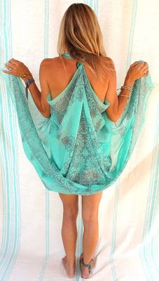 I made this beach cover up from a fringed sarong . That way you can tie it closed in the front with the fringe.