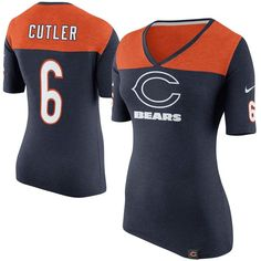 Jay Cutler Chicago Bears Nike Women's Starters Only Name and Number T-Shirt – Navy Blue