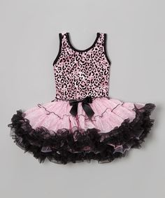 Look at this Popatu by Posh Pink Leopard Sequin Ruffle Dress - Toddler on #zulily today!