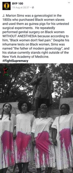 Another example of historical figures getting away with fucked up shit performed on Black people.
