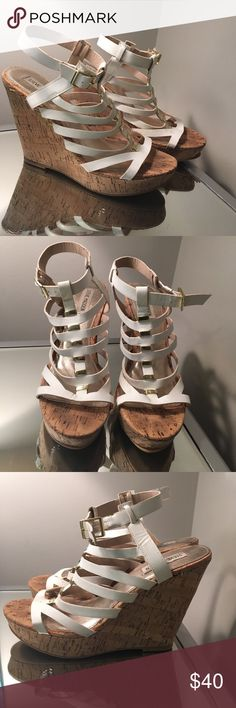 """Steve Madden Wedges Barely worn, only twice. 4.5"""" cork wedge, super comfortable! White and gold accents. Steve Madden Shoes Wedges"""