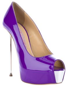 Purple patent leather shoes from Gianmarco Lorenzi featuring an open toe, a concealed platform, a contrast colour panel to the front, a high metal stiletto heel and a leather sole