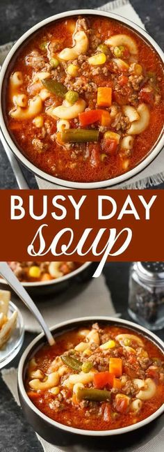 Busy Day Soup - An easy soup recipe your family will love! It's quick to make and takes little effort. Perfect for those busy weeknights. Gluten free option: Use gluten free pasta, cook it in a different pot before adding it to the soup. Crock Pot Recipes, Easy Soup Recipes, Healthy Recipes, Slow Cooker Recipes, New Recipes, Dinner Recipes, Cooking Recipes, Favorite Recipes, Recipies