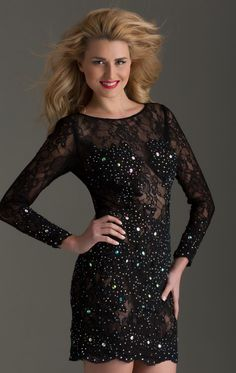 Black Sexy Long Sleeve Sequins Beaded Homecoming Dresses