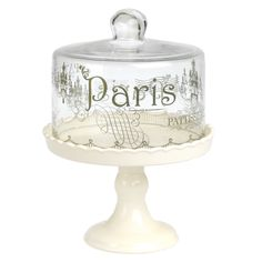 Dotcomgiftshop Petit Four Patisserie Ceramic Cake Stand With Glass