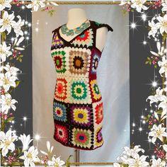 Womens Crochet Granny Square Maxi Hippie Vintage Dress