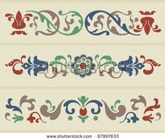 Traditional Russian Ornament in three versions in vector  Image ID: 87997633