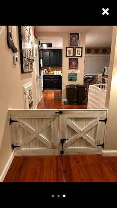 Double Door Rustic Barn Door Style Baby / Dog Gate This is my custom double gate set for larger open House, Home Projects, Home, Rustic Barn Door, Home Remodeling, Barn Door Baby Gate, Home Renovation, Home Diy, Rustic House
