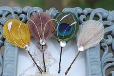 Hair Pins  Peacock Feather Hair Pin  Set of Two  YOU by MaddieLus, $19.75