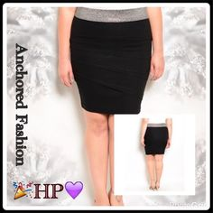 ➕Black and Silver Pencil Skirt Form fitting and classy. Elastic waistband with stretchy body. For work or play! 74% Cotton, 22% Nylon, 4% Spandex. Skirts Pencil