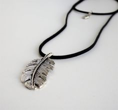 Long  black suede necklace with leaf, Double collar, Modern Jewelry by MontradaCarolina on Etsy