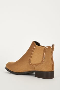 Faux Suedette Chelsea Boots With Upper Elastic Panels