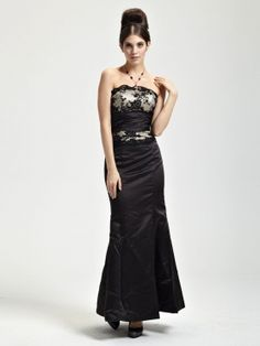 Alluring Black Satin Mermaid Trumpet Ladies Evening Dress.  Selling at Discount...