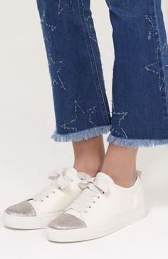 Кожаные кеды на шнуровке