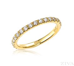 French pave set diamond eternity band in yellow gold. Eternity diamonds are inlaid across the entire circumference on this classic yellow gold band. Eternity Ring Diamond, Eternity Bands, Diamond Wedding Bands, Wedding Anniversary Rings, Wedding Rings, Stackable Rings, Gold Bands, Round Diamonds, Diamond Cuts