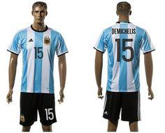 Argentina #15 Demichelis Home Soccer Country Jersey Alternate Replica Jersey