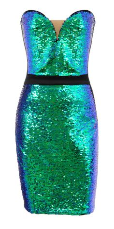 Clothing : Bodycon Dresses : 'Christie' Teal Sequin Strapless Dress. It looks like a mermaid!! :)