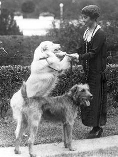 First Lady Grace Coolidge plays with her dogs at the White House.