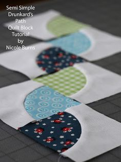 Semi Simple Drunkard's Path tutorial | Sew Nomadic (she uses and demonstrates Dale Fleming's 6 Minute Circle to make these drunkard's path squares.