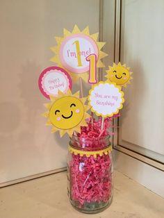 Sunshine theme birthday centerpiece by PoshBoxParties on Etsy