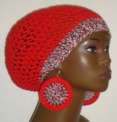 Crochet Beret Tam and Earrings by Razonda Lee