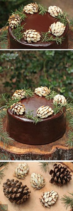 Cones Chocolate Pine Cones made with chocolate fudge and almonds. Easy and so perfect for a rustic Thanksgiving dessert!Chocolate Pine Cones made with chocolate fudge and almonds. Easy and so perfect for a rustic Thanksgiving dessert! Pretty Cakes, Beautiful Cakes, Amazing Cakes, Christmas Desserts, Christmas Treats, Christmas Cakes, Holiday Cakes, Diy Christmas, Christmas Cake Decorations