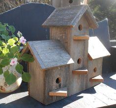Barnwood Birdhouse Barn wood 4 plex Bird House by tawnystreasures, $120.00