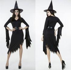 2015 Maleficent Kostuum Sexy Heks Halloween Kostuums Zwart V hals Jurken Vrouwen Cosplay Maleficent Kostuum Met Top Hoed in Woman…