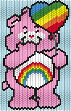 Cheer Bear from the Care Bears (smaller version) Multi/Brick Stitch Pattern Unicorn Cross Stitch Pattern, Cross Stitch Pattern Maker, Disney Cross Stitch Patterns, Pony Bead Patterns, Peyote Stitch Patterns, Kandi Patterns, Cross Stitch Designs, Beading Patterns, Beaded Banners