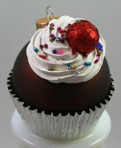 Cupcake Ornament  Chocolate Matte Brown by gatorgrrl on Etsy, $9.50
