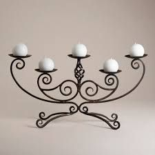 Scroll Centerpiece Candleholder - traditional - candles and candle holders - World Market Wrought Iron Candle Holders, Wrought Iron Decor, Iron Furniture, Iron Art, Paint Colors For Living Room, Candle Stand, Candle Lanterns, Metal Crafts, Lanterns