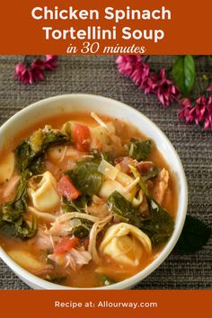 Chicken spinach tortellini soup is a zesty chicken vegetable pasta soup with a southwestern flair. Rotissiere chicken makes it quick and salsa adds the zip. Best Soup Recipes, Chowder Recipes, Chili Recipes, Seafood Recipes, Cooking Recipes, Favorite Recipes, Easy Recipes, Family Recipes, Kitchen Recipes