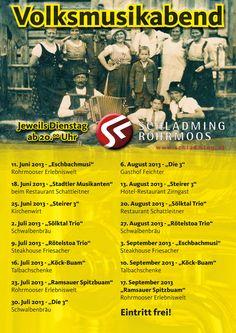 Auch im Sommer 2013 gibt es in Schladming-Rohrmoos wieder zahlreiche Volksmusikabende!