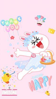Lines Wallpaper, Kawaii Wallpaper, Line Cony, Bear Gif, Cony Brown, Line Friends, Line Sticker, Cute Illustration, Love Gifts