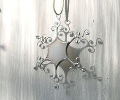 Winter snowflake ornaments White glass snowflake by ArtKvarta, $9.00