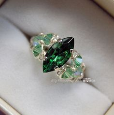 Tourmaline Forest Green Swarovski Navette-Marquise Hand Crafted Ring Wire Wrapped Original Signature Design Fine Jewelry by MyWiredImagination