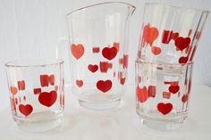 Sapkan Hartjes - serviesset - hearts - retro - glasses Pint Glass, Beer, Wine, Tableware, Vintage, Root Beer, Ale, Dinnerware, Dishes