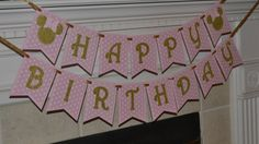 Pink and Gold Minnie Mouse Inspired Banner, Pink and Gold Happy Birthday Minnie Mouse Banner, Cake Smash Cake, Personalized with name by CelebrateCustomEvent on Etsy