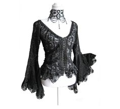 Gothic black lace blouse