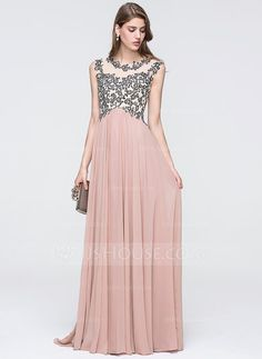 A-Line/Princess Scoop Neck Sweep Train Chiffon Prom Dress With Beading Sequins (018093869) $138.00 JJ House