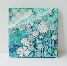 Mixed media canvas using Blue Fern Studios chipboard.  Lace-canvas by Yam_Yvonne1, via Flickr
