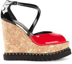 Philipp Plein Platform Wedge Sandals in Red #shoes #wedges #heels
