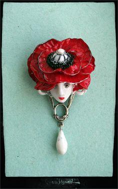 Mak   Valeria Myrusso Art Nouveau Jewelry, Jewelry Art, Jewelry Design, Jewlery, Polymer Clay Canes, Handmade Polymer Clay, Face Mold, Clay Faces, Design Reference