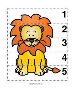 Number Sequence Preschool Picture Puzzle - Lion from Worksheet Teacher Zoo Activities Preschool, Preschool Pictures, Numbers Preschool, Animal Activities, Preschool Worksheets, Preschool Activities, Preschool Curriculum, Vocabulary Activities, Animal Pictures For Kids
