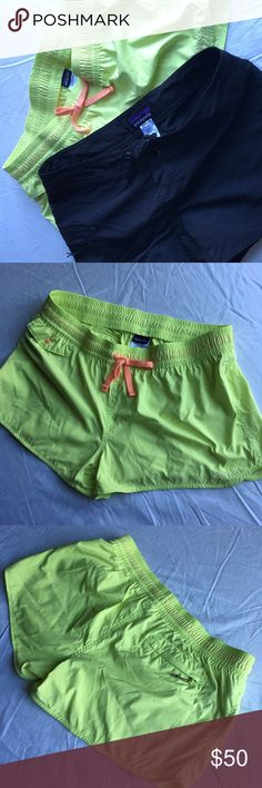 Patagonia BUNDLE of board / athletic shorts. Patagonia Neon yellow athletic shorts are size 8 women's.  Patagonia Black board shorts are size 6 women's, but they are virtually the same size, just different styles. Will sell separately as well. Patagonia Shorts
